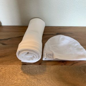 White swaddle and hat set